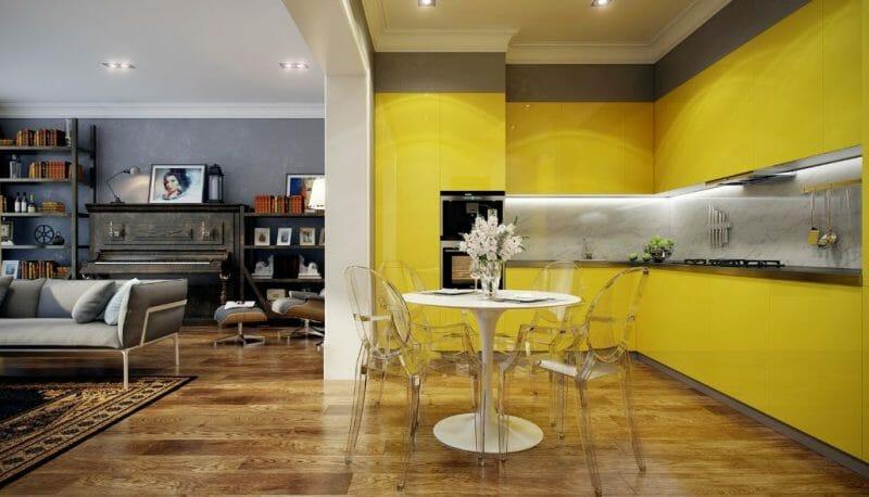 galben în bucătărie