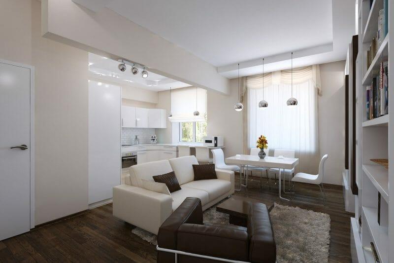 Apartament de 60 mp cu 2 camere în culori neutre