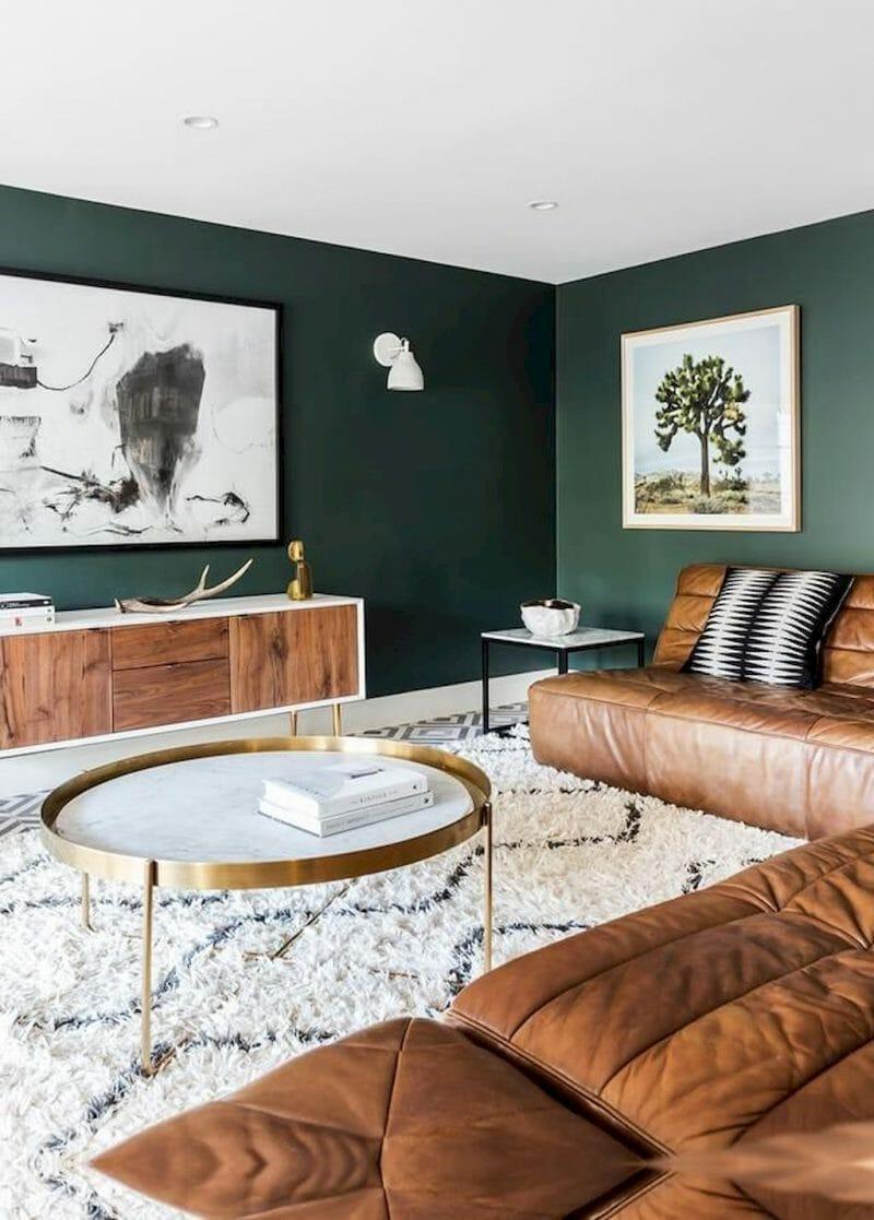 verde profund pentru decorul livingului