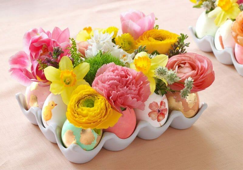 coaja de ou vaza pentru flori mici